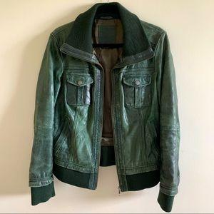 Green Vintage leather short jacket for Women